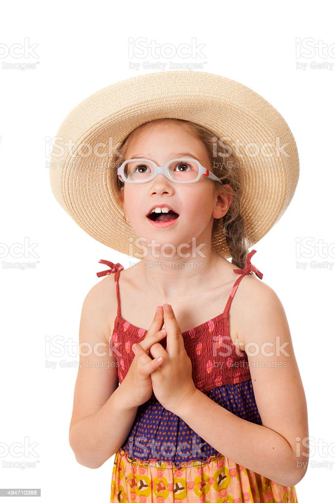 surprised girl is looking up stock photo