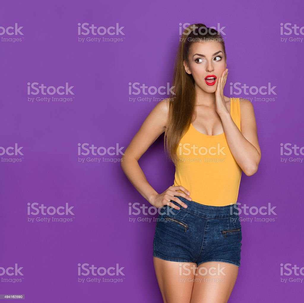 Surprised Girl Looking At Copy Space stock photo
