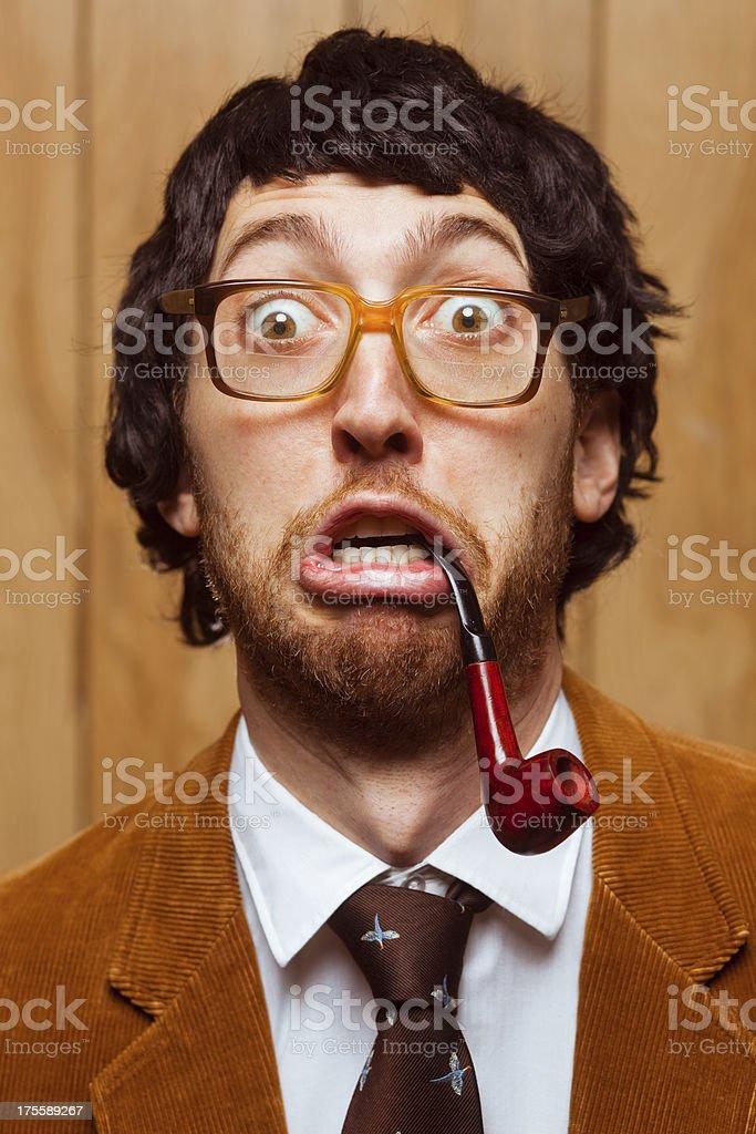 Surprised Goofy Nerd College Professor School Portrait royalty-free stock photo