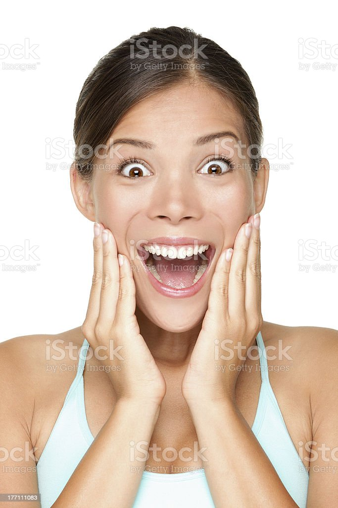 Surprised happy smiling young woman royalty-free stock photo