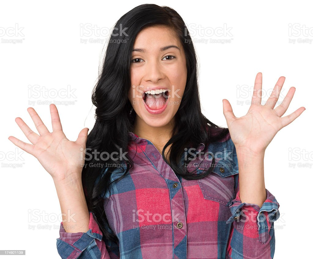 Surprised Happy Teenage Girl WIth Hands Up stock photo