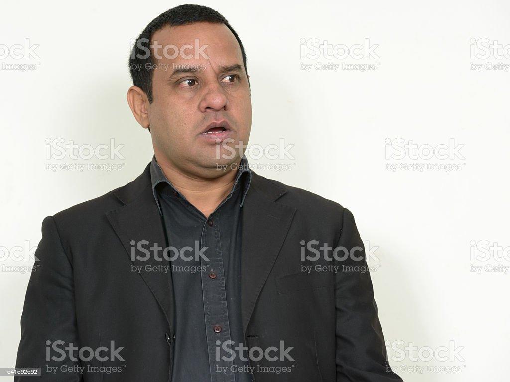 Surprised Indian businessman stock photo