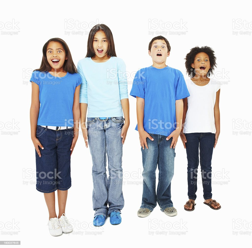 Surprised kids standing isolated against white royalty-free stock photo