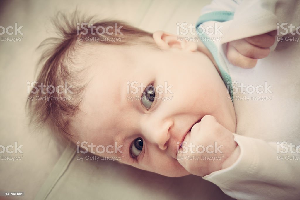 Surprised little child stock photo