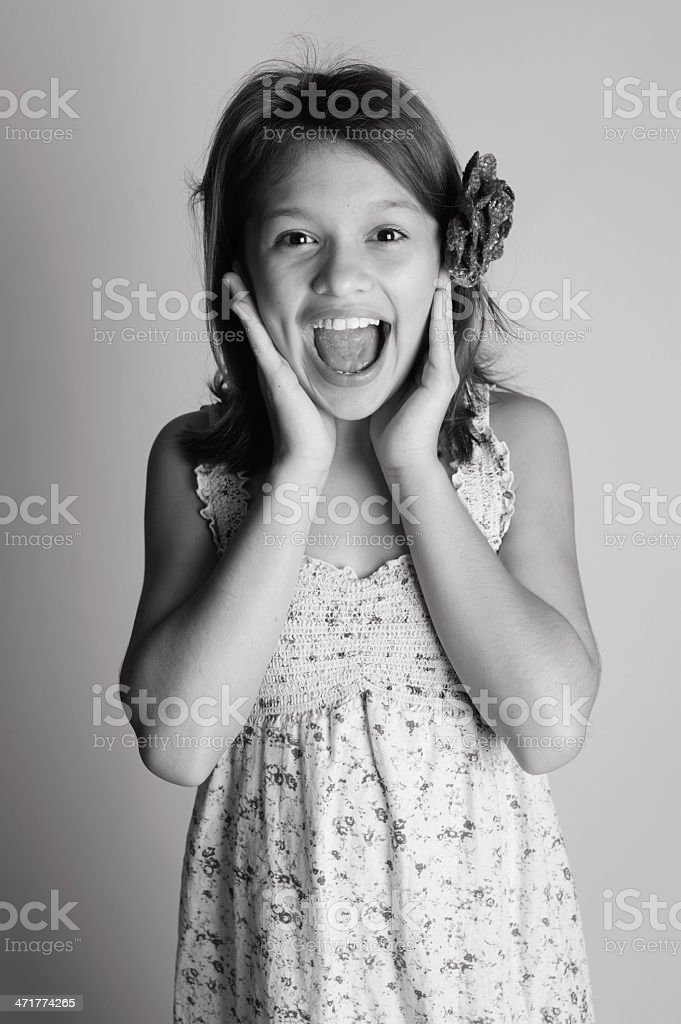 Surprised Little Girl in Black and White royalty-free stock photo