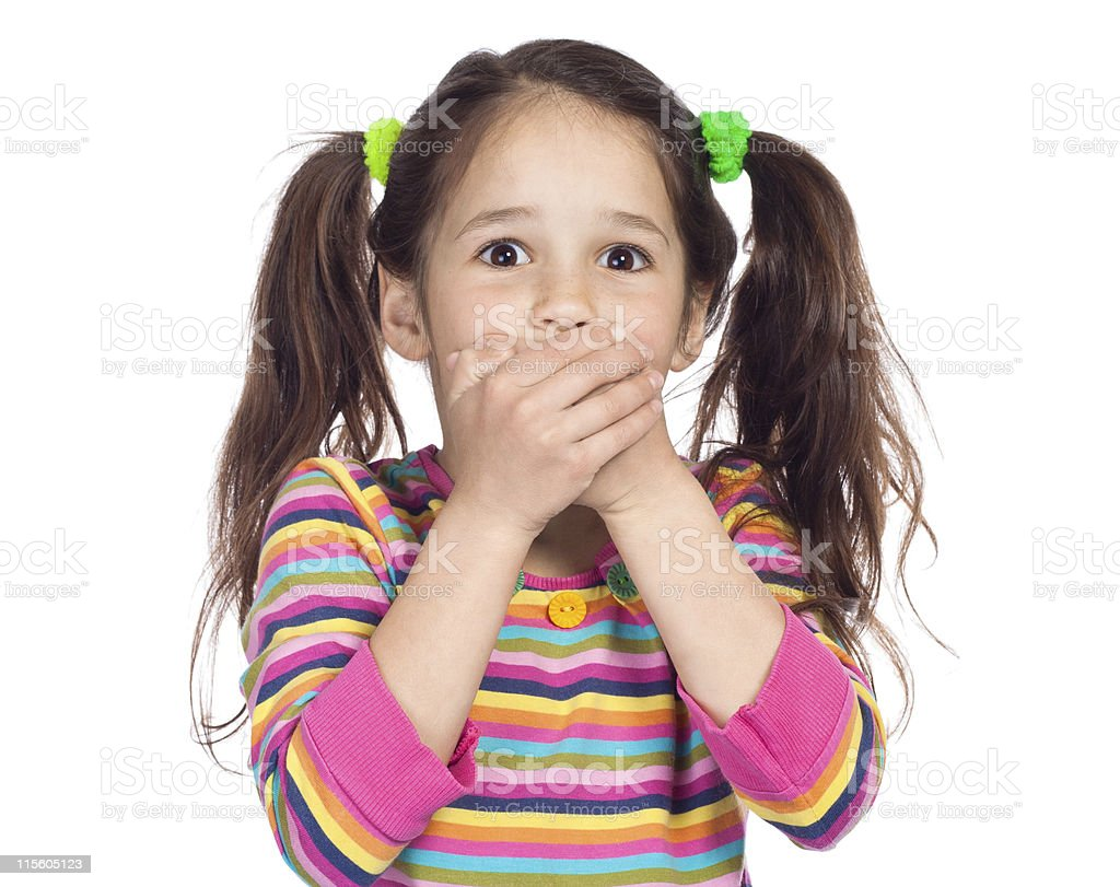 Surprised little girl with covered his mouth stock photo