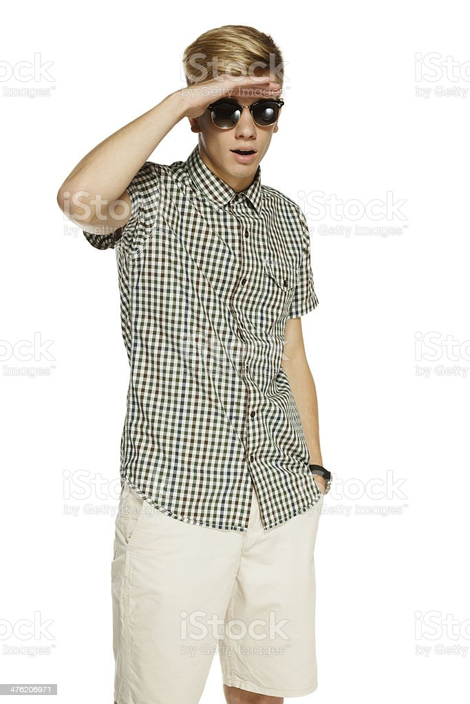 Surprised male looking forward with palm on forehead stock photo