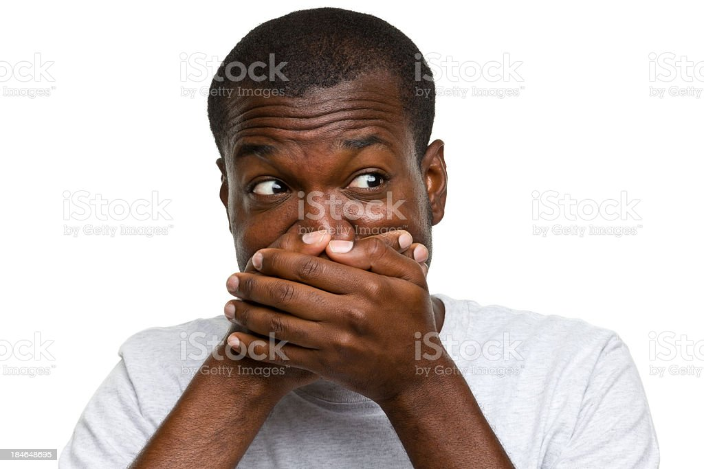 Surprised Man Covers Mouth stock photo