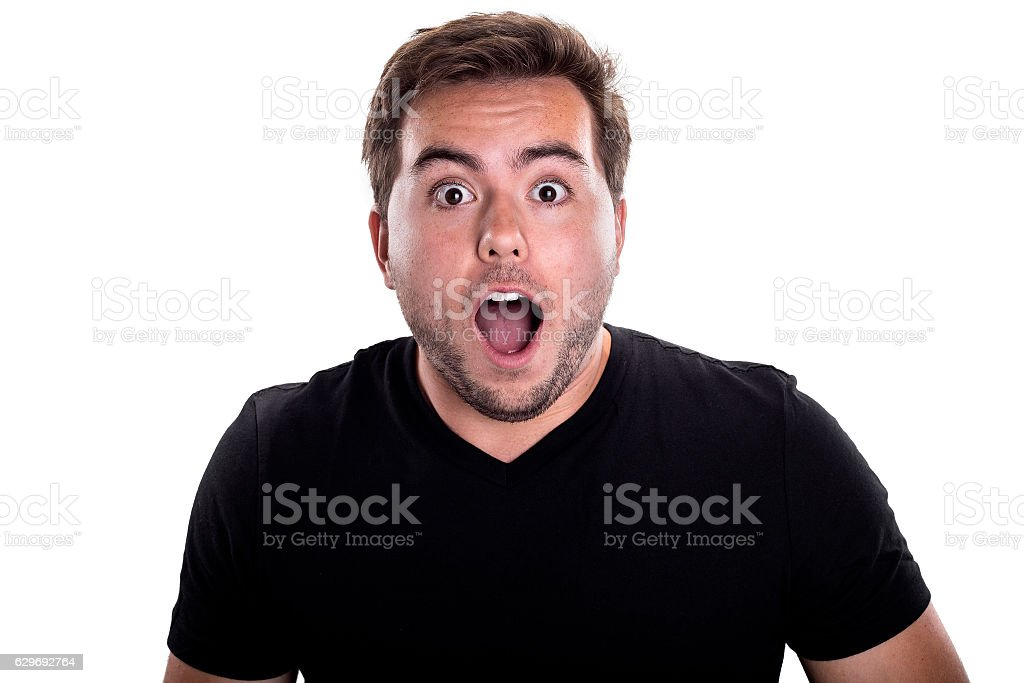 Surprised Man on White Background stock photo