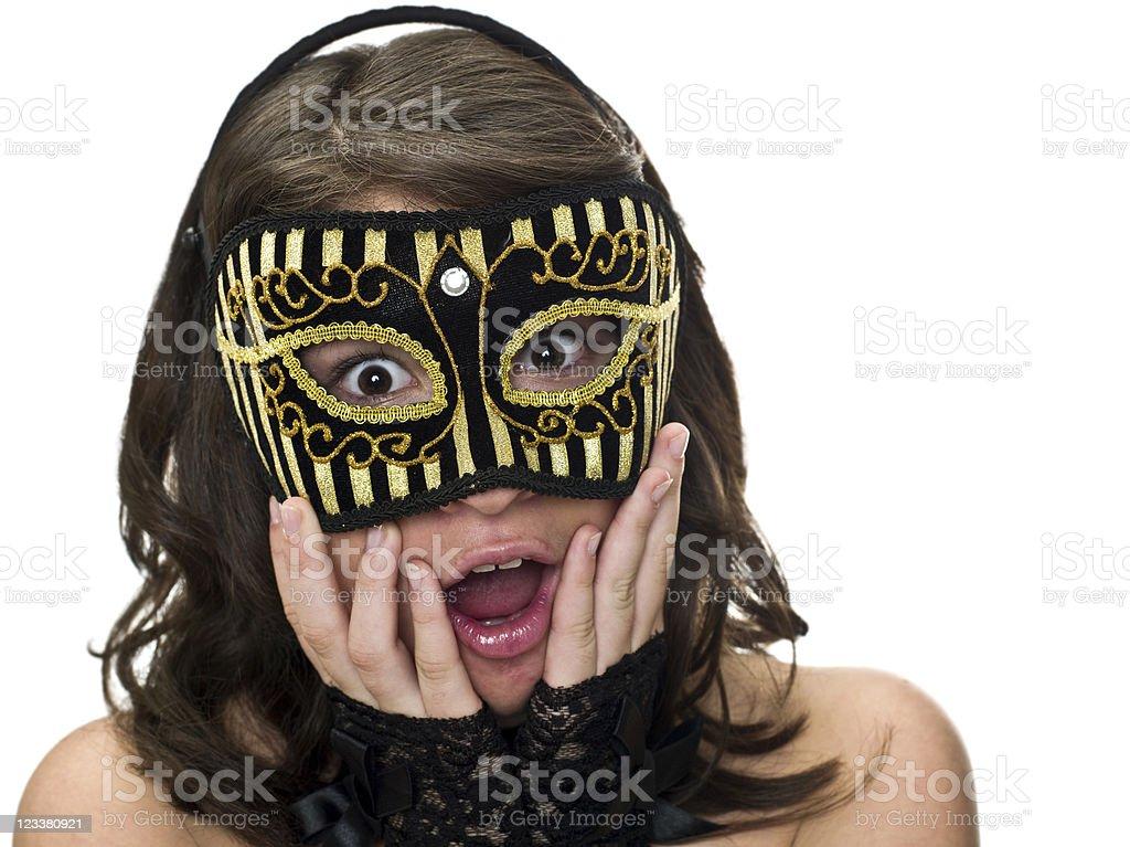 Surprised masked teenager royalty-free stock photo