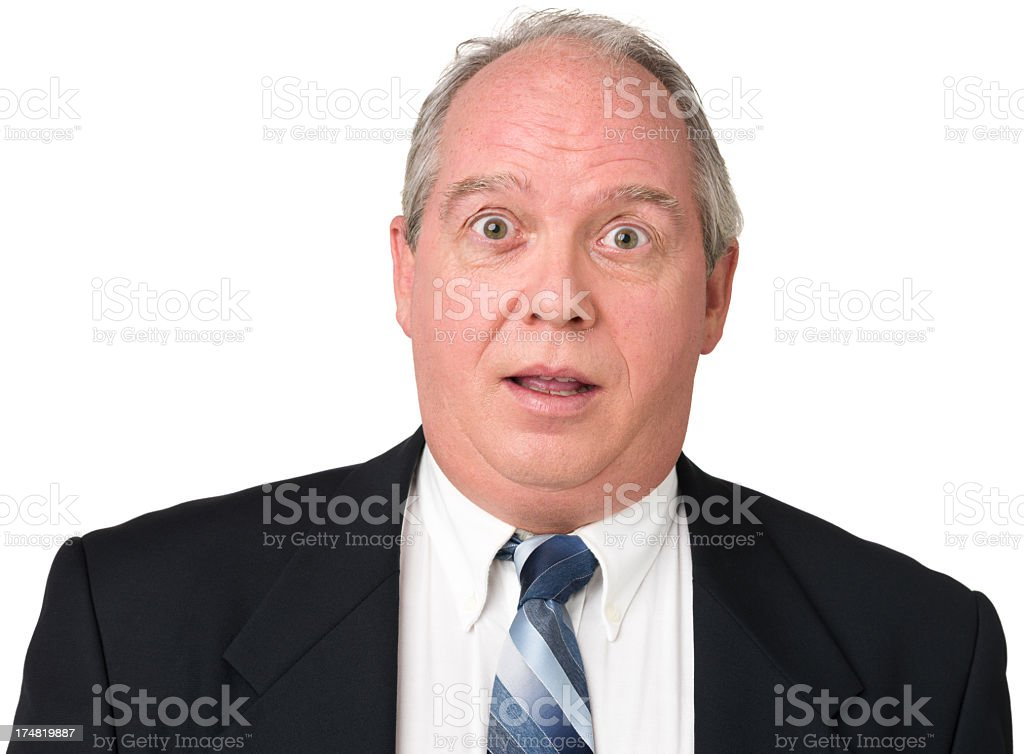 Surprised Mature Man In Suit And Tie royalty-free stock photo