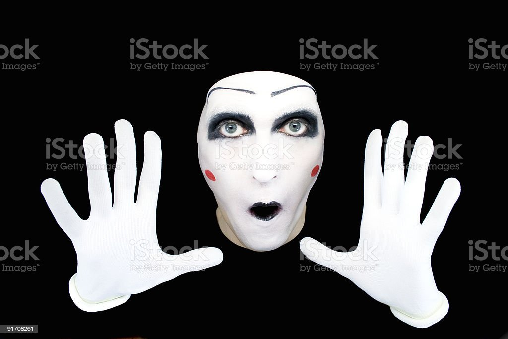 A surprised mime in white gloves stock photo