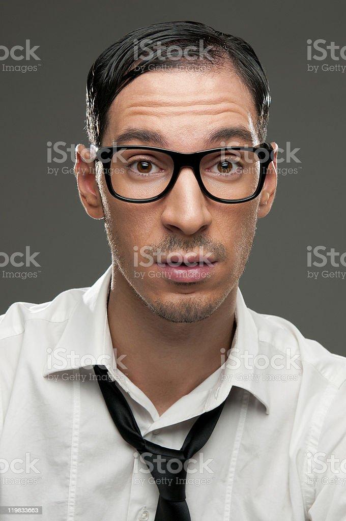 Surprised nerd royalty-free stock photo