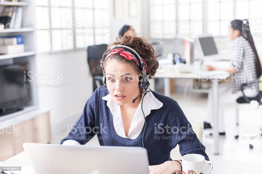 Surprised office woman stock photo