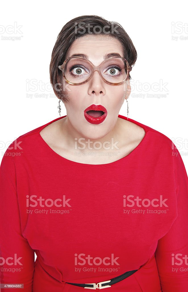 Surprised plus size woman looking on you isolated. Top view stock photo