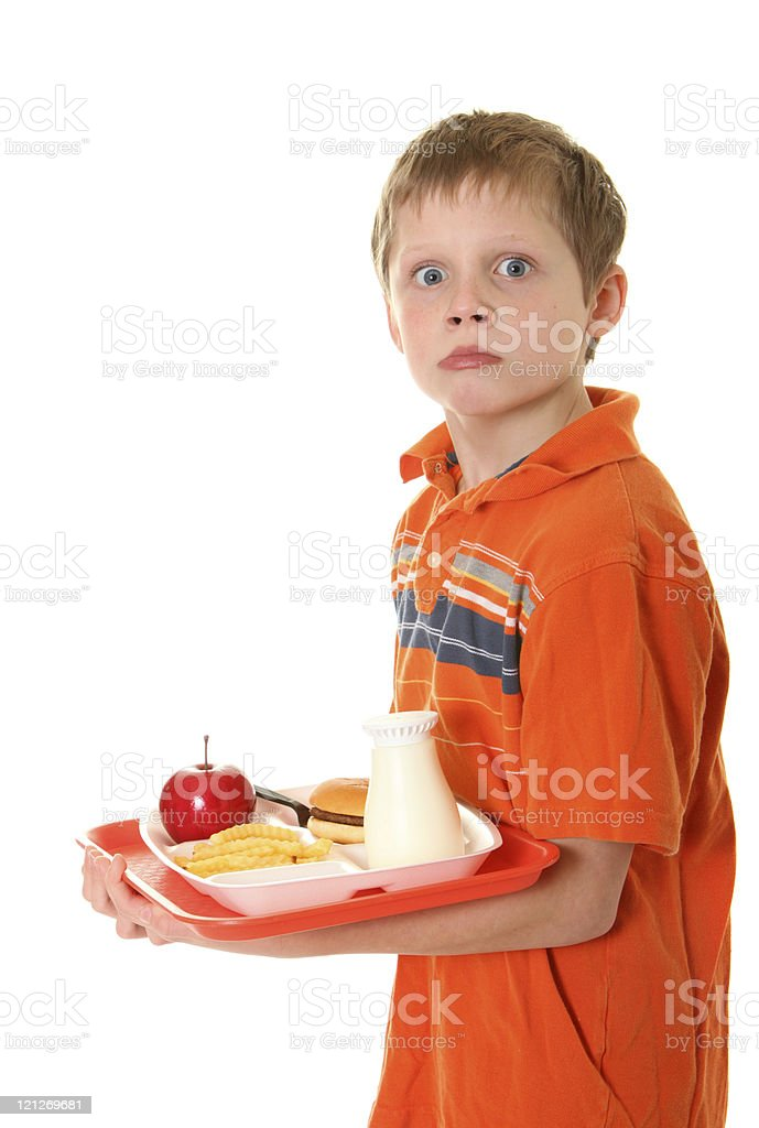 surprised student with lunch royalty-free stock photo