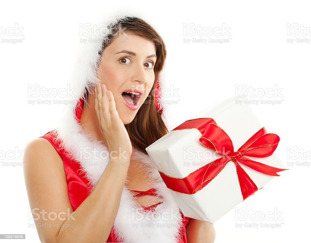 surprised woman at christmas stock photo