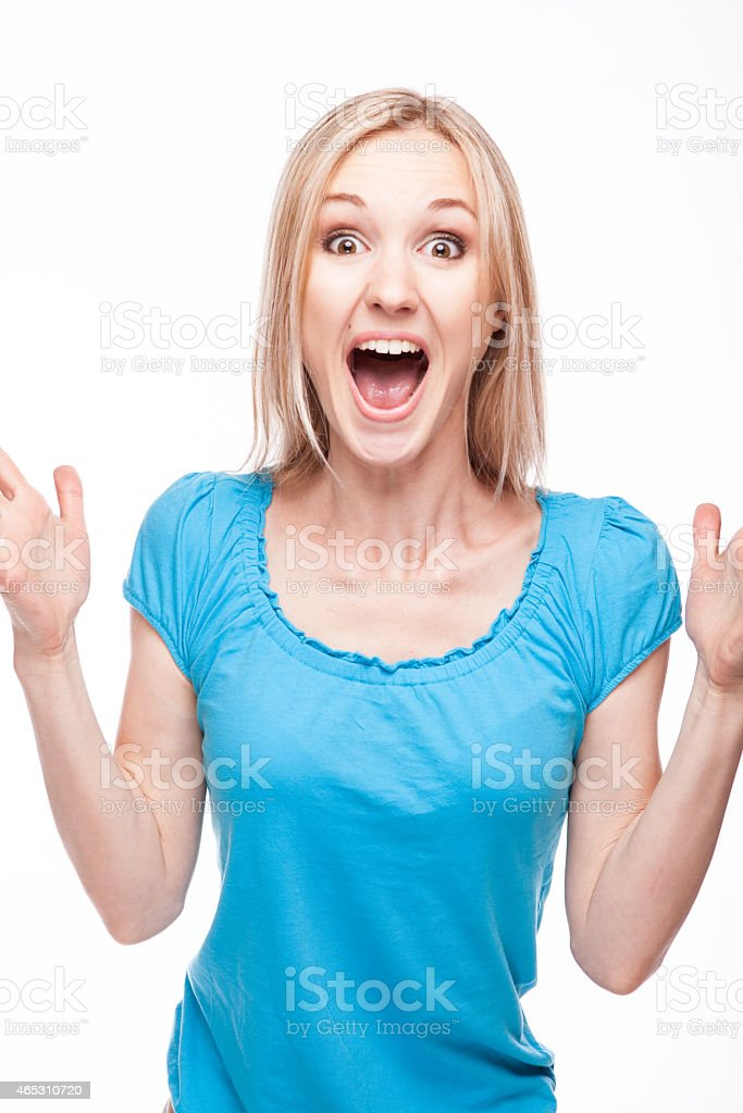 surprised woman face over white stock photo