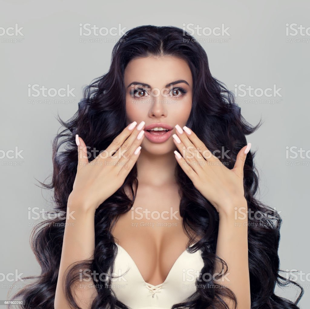 Surprised Woman Fashion Model with Open Mouth. Surprise concept