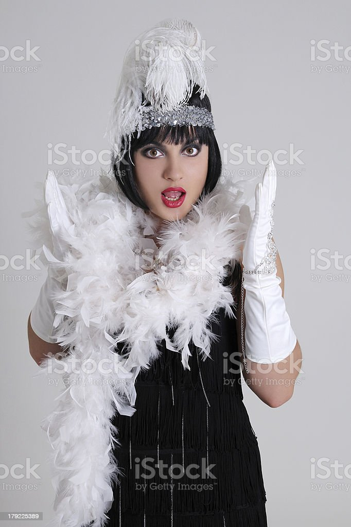 surprised woman in vintage clothes royalty-free stock photo