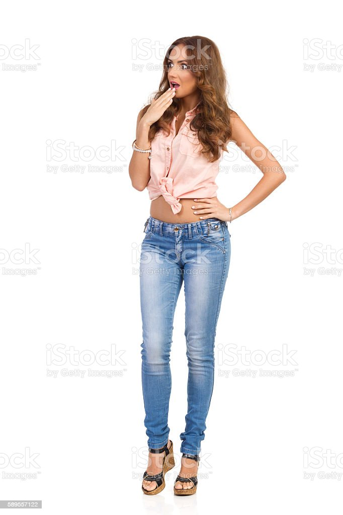 Surprised Woman Looking Away Full Length Isolated stock photo