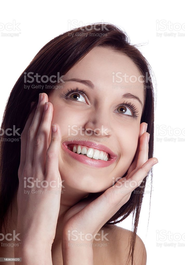 Surprised woman looking up royalty-free stock photo