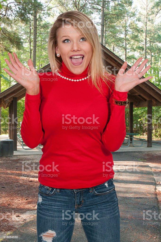 Surprised Woman stock photo