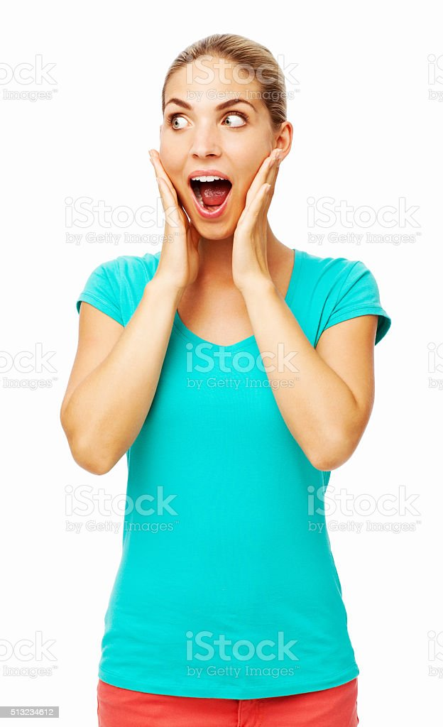 Surprised Woman Touching Cheeks stock photo
