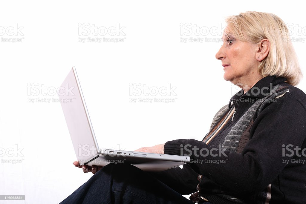 surprised woman with computer royalty-free stock photo