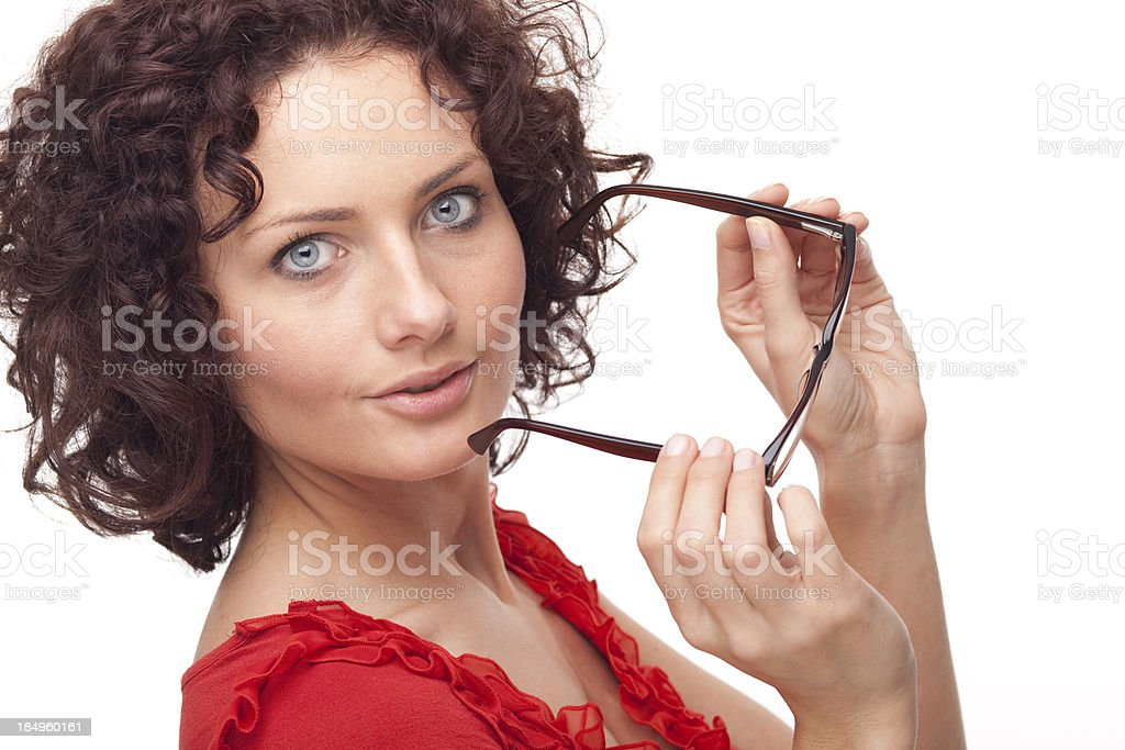 surprised woman with glasses XXXL royalty-free stock photo