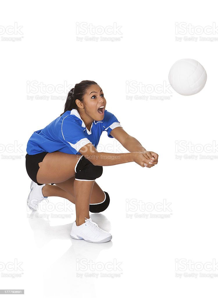 Surprised Young Girl Playing The Volleyball stock photo