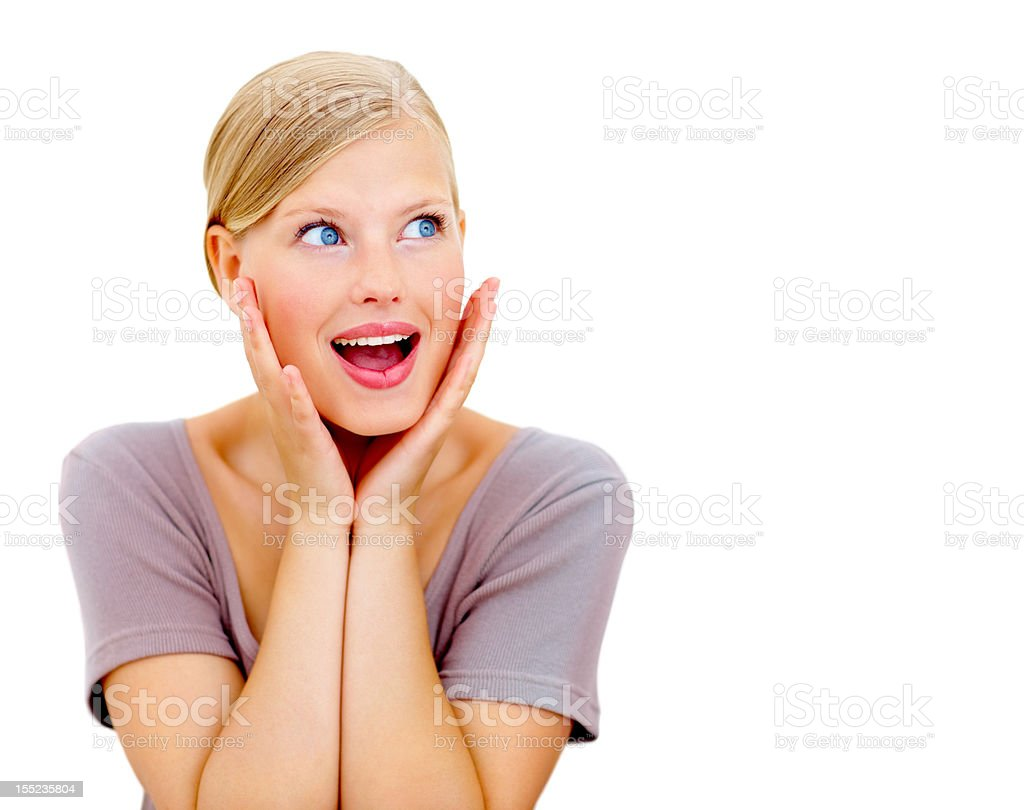 Surprised young lady looking at copy space royalty-free stock photo
