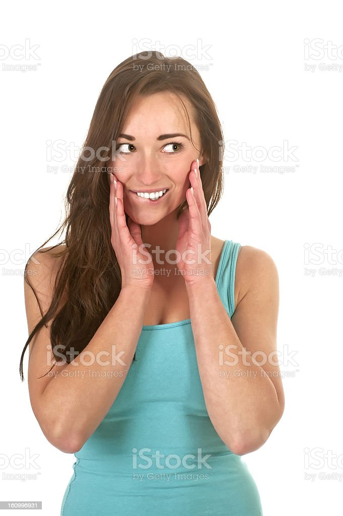 surprised young woman stock photo