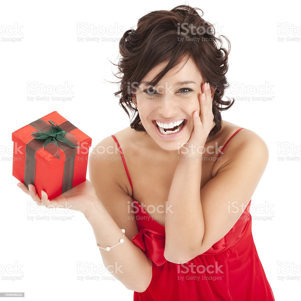 Surprised Young Woman with Red Gift Box royalty-free stock photo