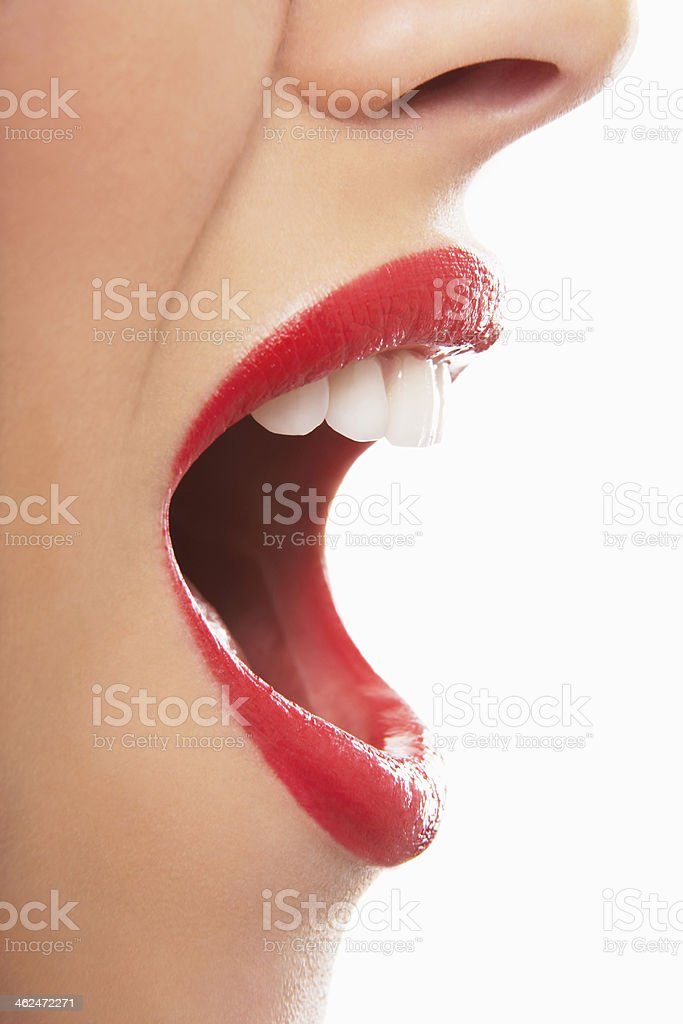 Surprised Young Woman With Red Lips stock photo