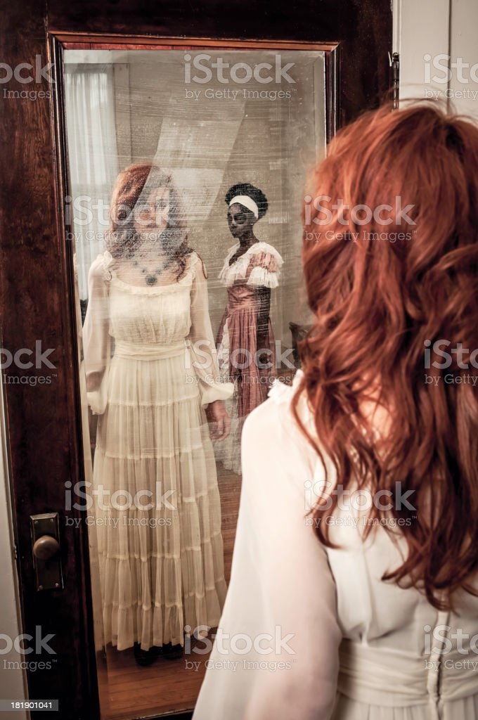 Surprising ghostly reflection in the mirror stock photo