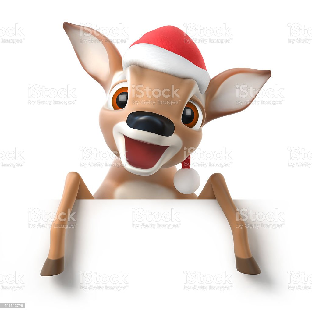 surprized little cartoon deer with a santa hat stock photo