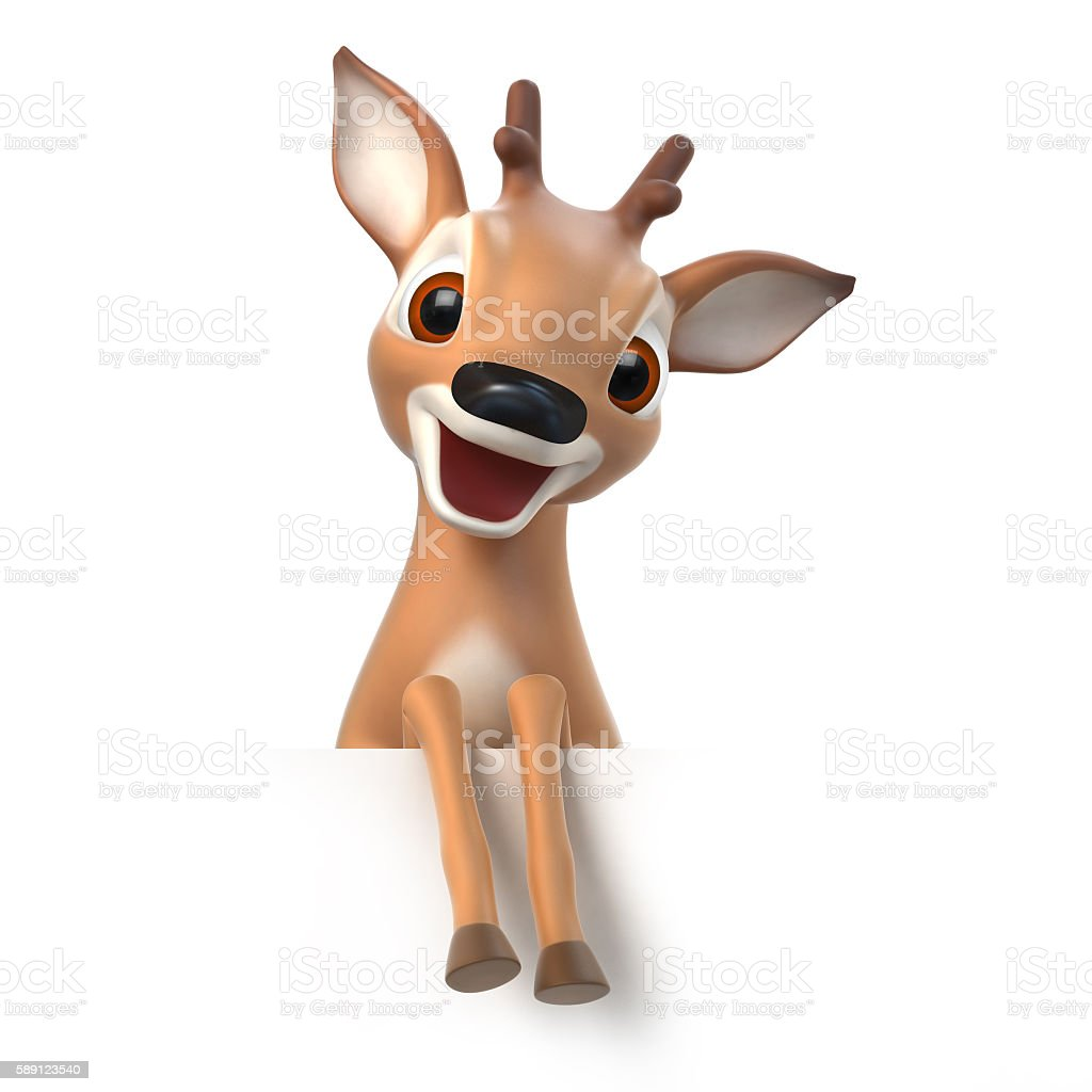 surprized little cartoon fawn stock photo