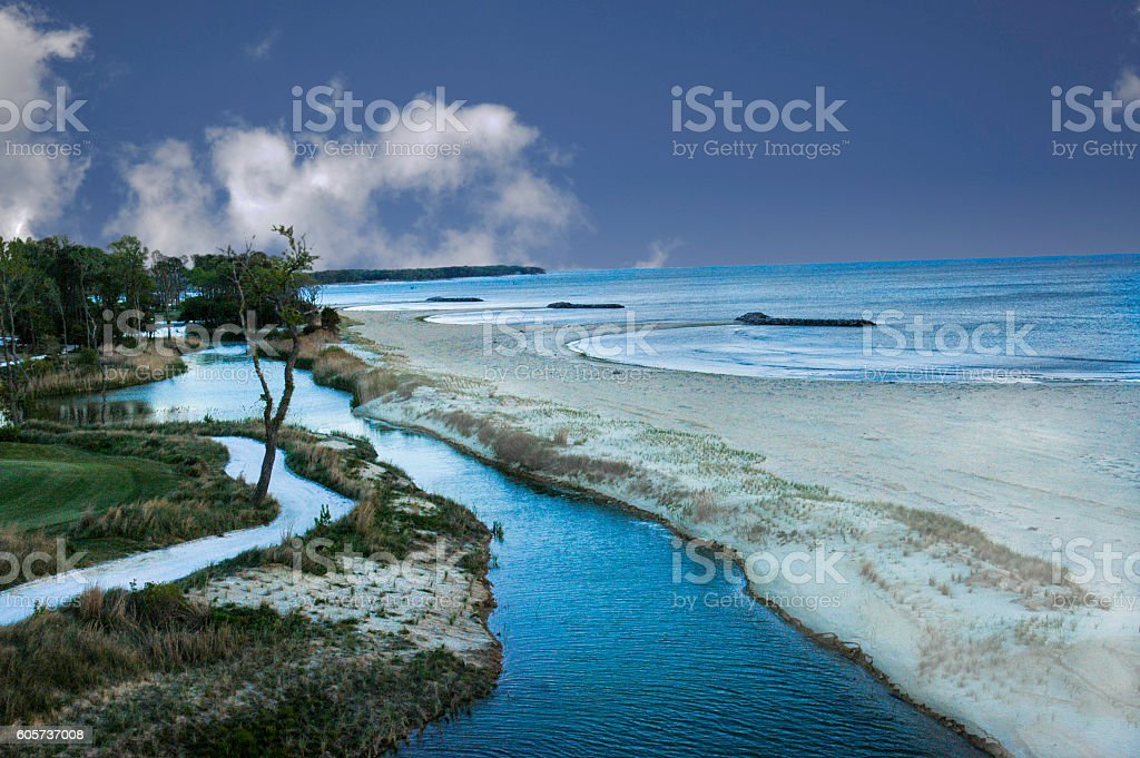 Surreal Coatal View at Twilight stock photo