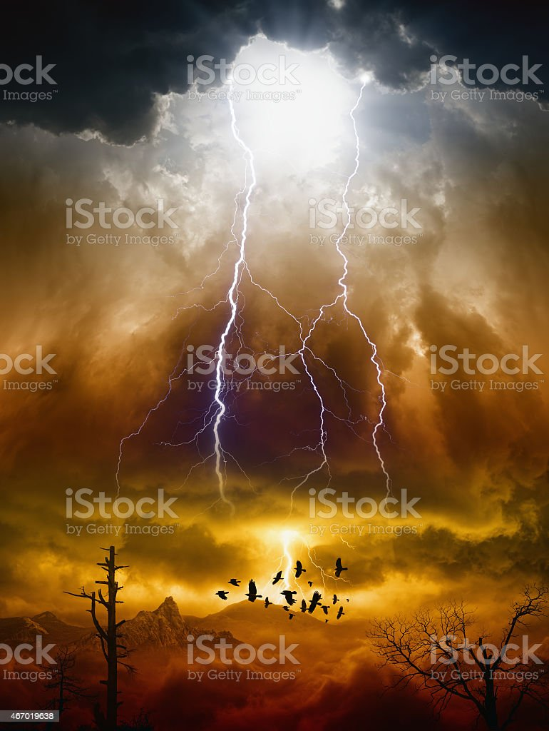 Surreal depiction of judgement day stock photo