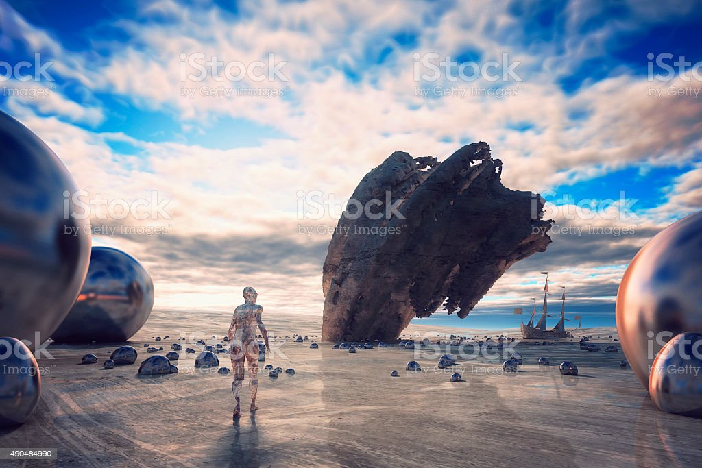 Surreal dreams of a lonely cyborg stock photo