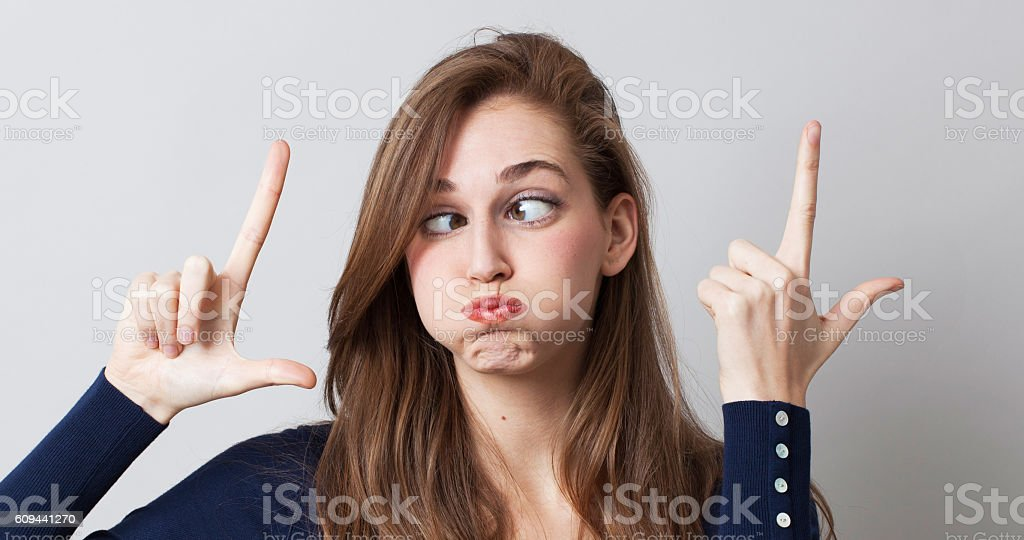 surreal expression with funny woman with huge eyes for LOL stock photo