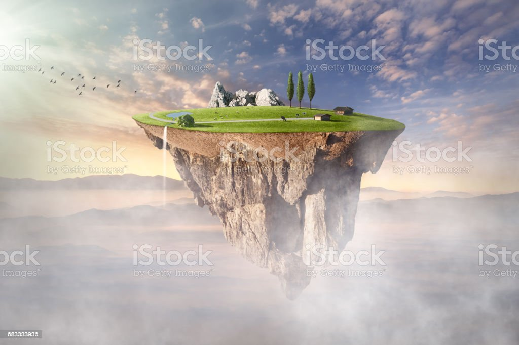 Surreal floating island with beautiful scenery stock photo
