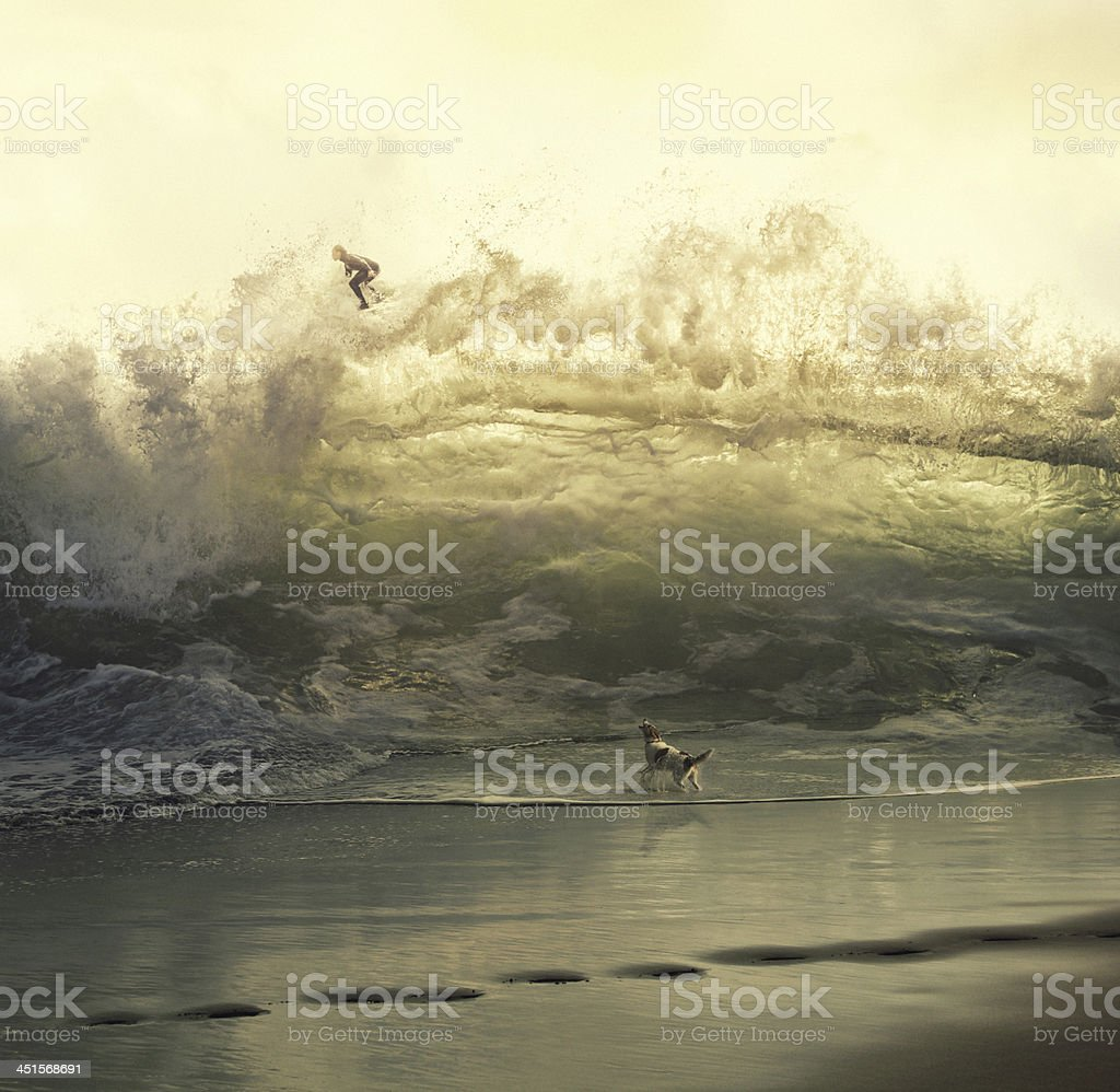 surreal giant wave with surfer stock photo