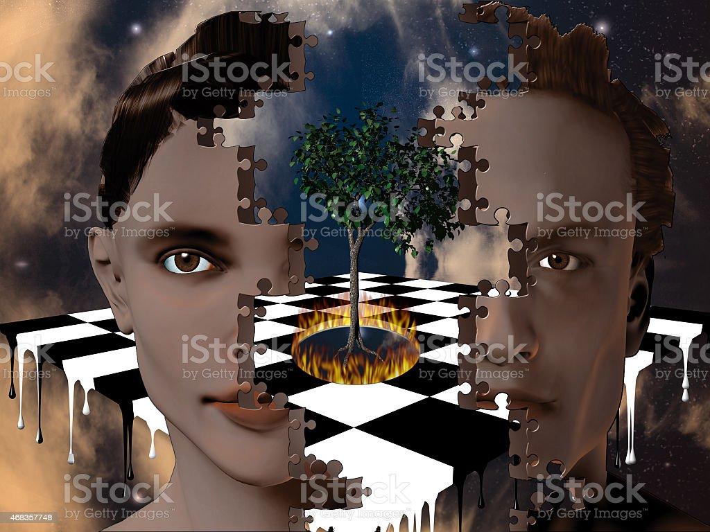 Surreal Heads stock photo