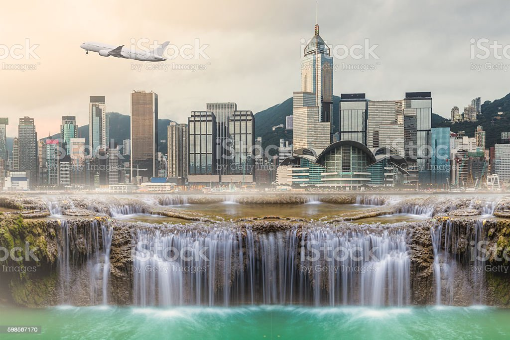 Surreal image of Huge waterfall in middle of urban city . stock photo