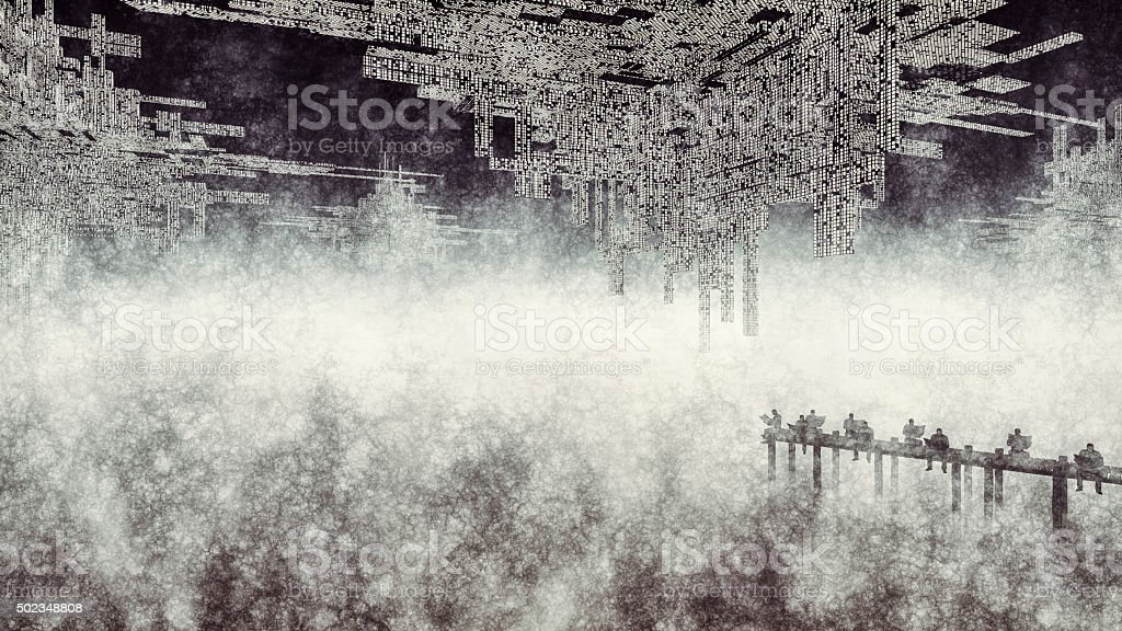 Surreal image of men reading newspaper on the pier stock photo