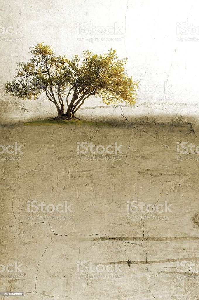 Surreal landscape with single tree in sepia tones vector art illustration
