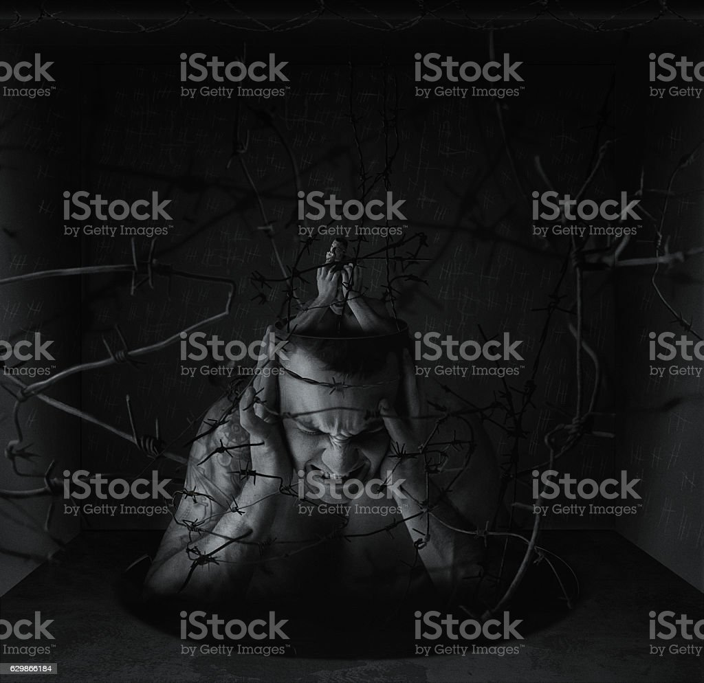 Surreal portreat. Pain, helplessness and inaction stock photo