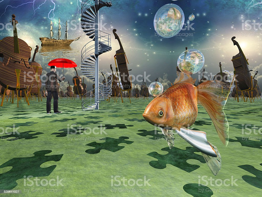 Surreal scene with various eelements vector art illustration